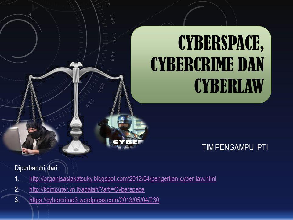 CYBERSPACE, CYBERCRIME DAN CYBERLAW TIM PENGAMPU PTI Diperbaruhi dari : 1.http://organisasiakatsuky.blogspot.com/2012/04/pengertian-cyber-law.htmlhttp