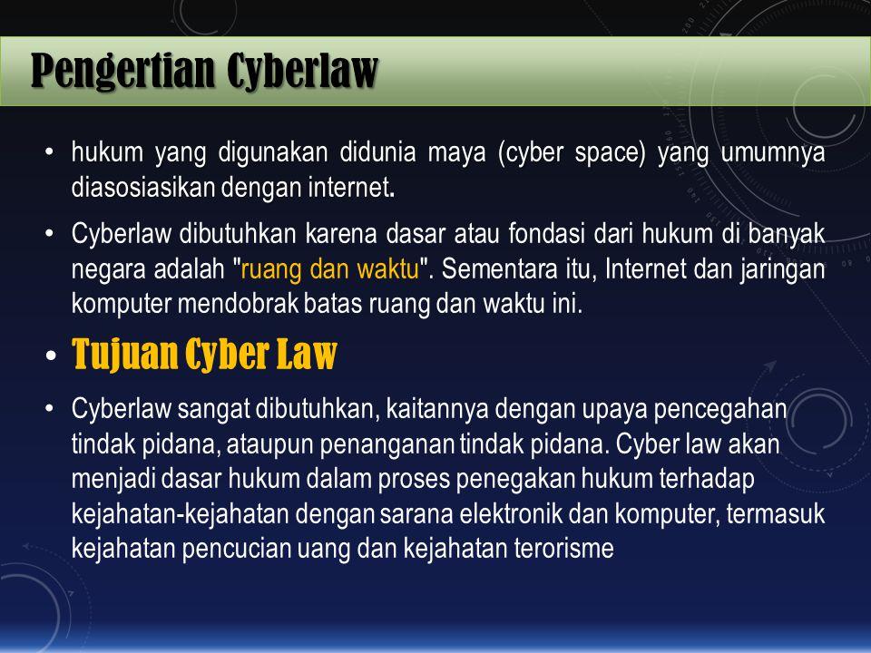 Pengertian Cyberlaw hukum yang digunakan didunia maya (cyber space) yang umumnya diasosiasikan dengan internet hukum yang digunakan didunia maya (cybe