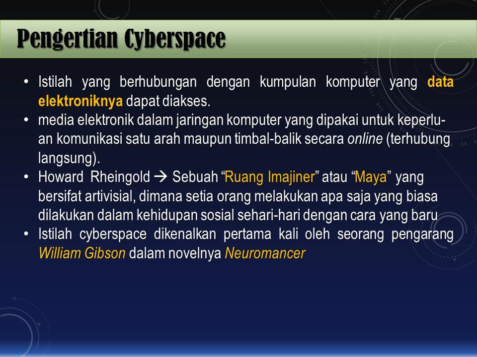 Pengertian Cyberspace Istilah yang berhubungan dengan kumpulan komputer yang data elektroniknya dapat diakses. Istilah yang berhubungan dengan kumpula