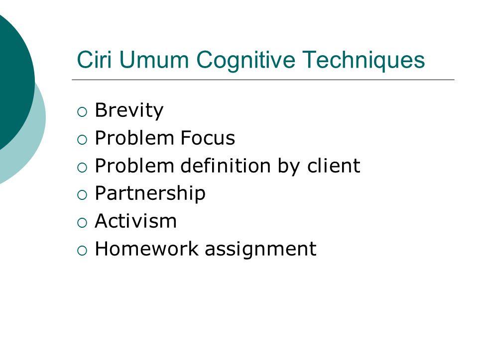 Ciri Umum Cognitive Techniques  Brevity  Problem Focus  Problem definition by client  Partnership  Activism  Homework assignment