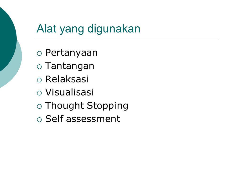 Alat yang digunakan  Pertanyaan  Tantangan  Relaksasi  Visualisasi  Thought Stopping  Self assessment