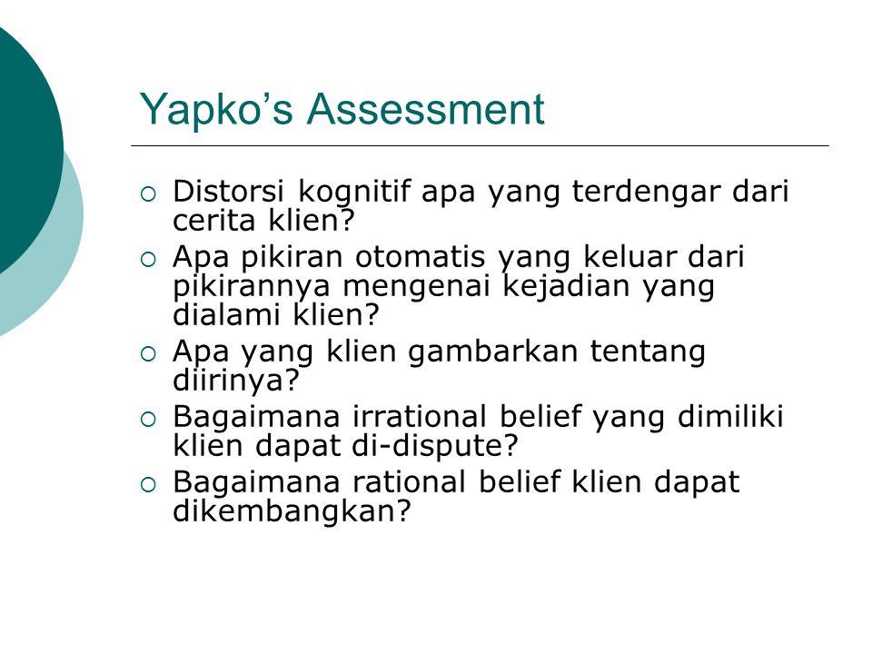 Yapko's Assessment  Distorsi kognitif apa yang terdengar dari cerita klien.