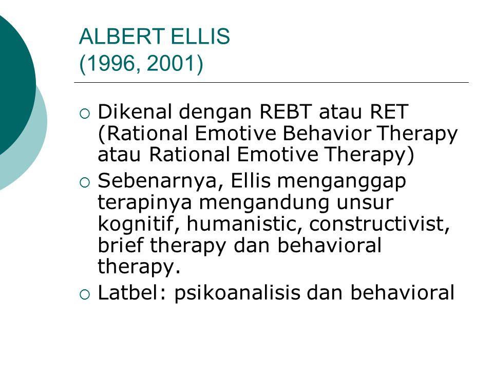 ALBERT ELLIS (1996, 2001)  Dikenal dengan REBT atau RET (Rational Emotive Behavior Therapy atau Rational Emotive Therapy)  Sebenarnya, Ellis menganggap terapinya mengandung unsur kognitif, humanistic, constructivist, brief therapy dan behavioral therapy.