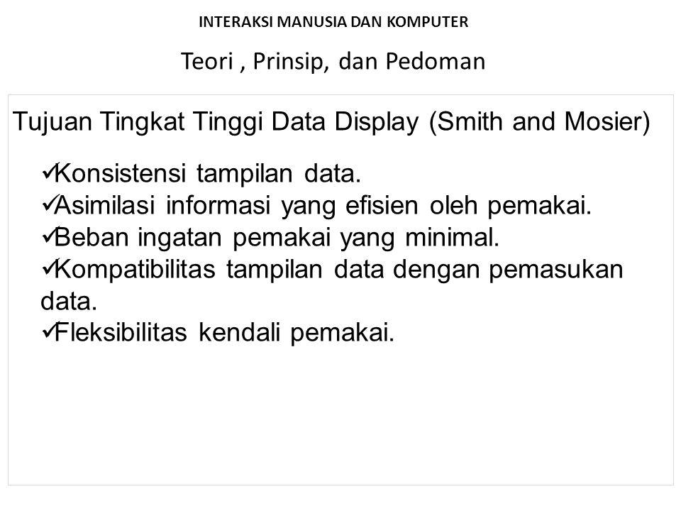 INTERAKSI MANUSIA DAN KOMPUTER Teori, Prinsip, dan Pedoman Tujuan Tingkat Tinggi Data Display (Smith and Mosier) Konsistensi tampilan data. Asimilasi