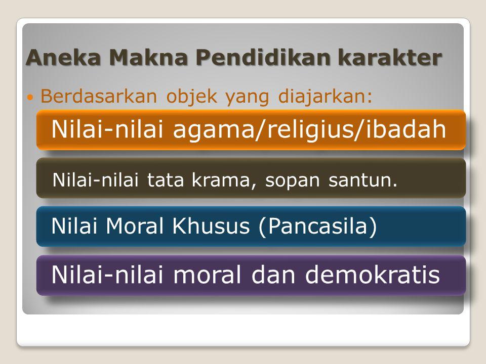 Aneka Makna Pendidikan karakter Berdasarkan objek yang diajarkan: Nilai-nilai agama/religius/ibadah Nilai-nilai tata krama, sopan santun.