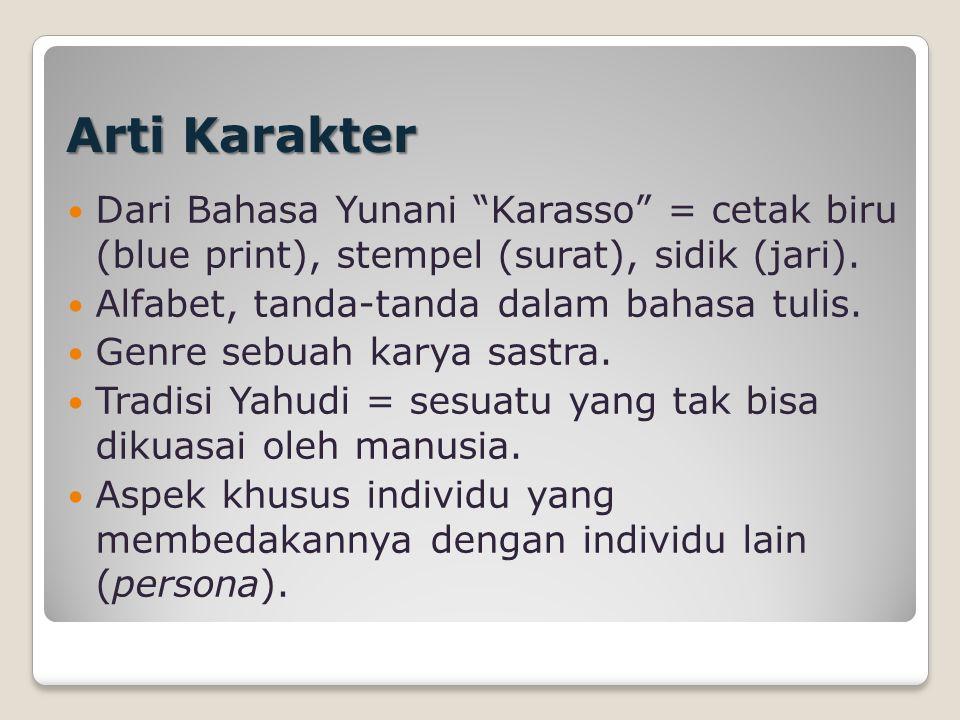 Arti Karakter Dari Bahasa Yunani Karasso = cetak biru (blue print), stempel (surat), sidik (jari).