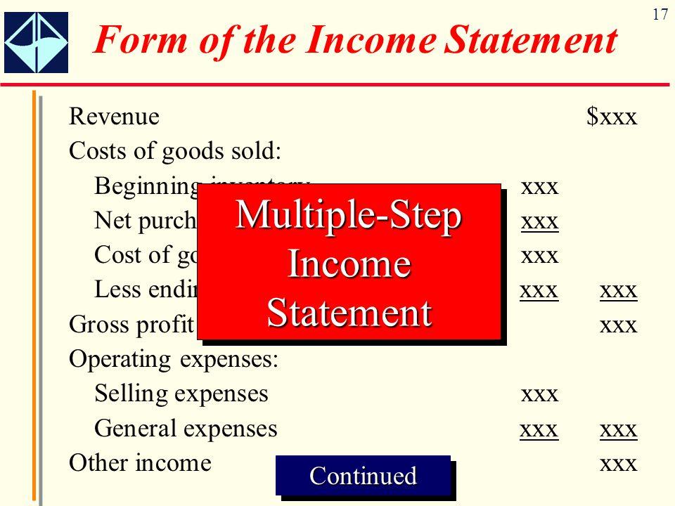 17 Revenue$xxx Costs of goods sold: Beginning inventoryxxx Net purchasesxxx Cost of goods available for salexxx Less ending inventoryxxxxxx Gross prof