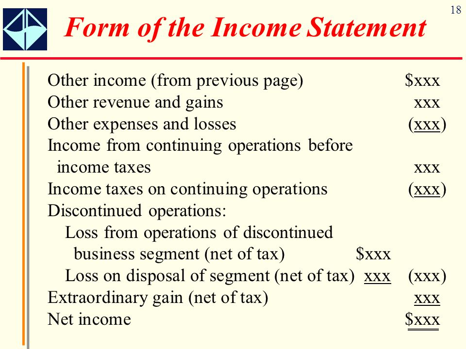 18 Other income (from previous page)$xxx Other revenue and gainsxxx Other expenses and losses(xxx) Income from continuing operations before income tax