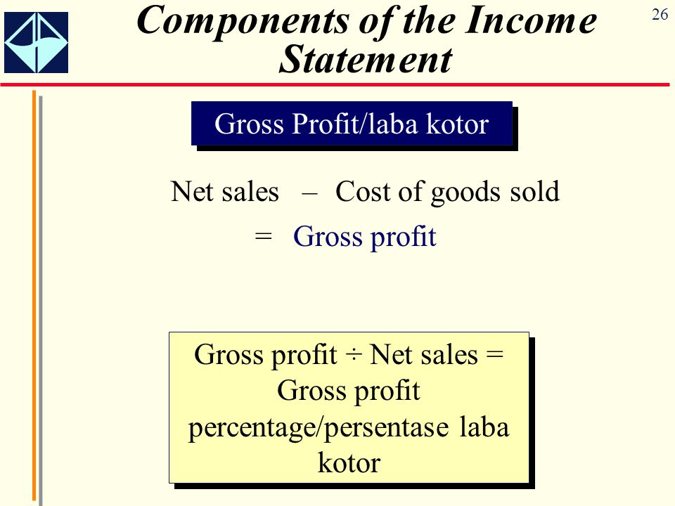 26 Components of the Income Statement Gross Profit/laba kotor Net sales –Cost of goods sold =Gross profit Gross profit ÷ Net sales = Gross profit perc