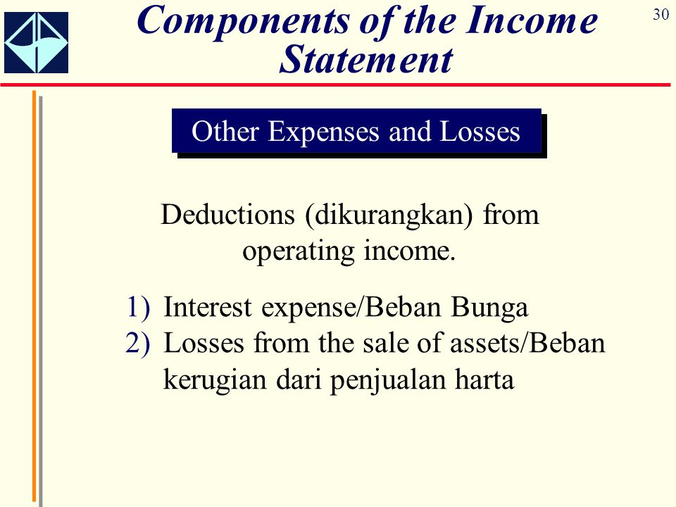 30 Components of the Income Statement Other Expenses and Losses Deductions (dikurangkan) from operating income. 1)Interest expense/Beban Bunga 2)Losse