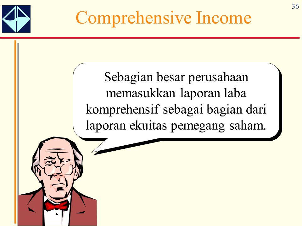 36 Comprehensive Income Sebagian besar perusahaan memasukkan laporan laba komprehensif sebagai bagian dari laporan ekuitas pemegang saham.