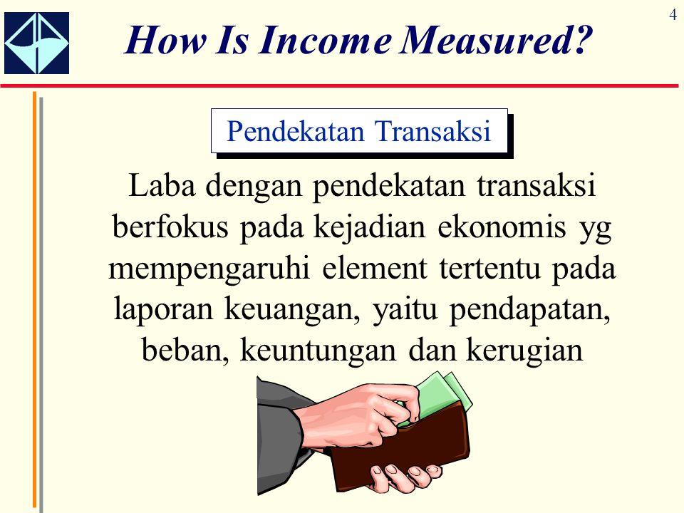 4 How Is Income Measured? Pendekatan Transaksi Laba dengan pendekatan transaksi berfokus pada kejadian ekonomis yg mempengaruhi element tertentu pada