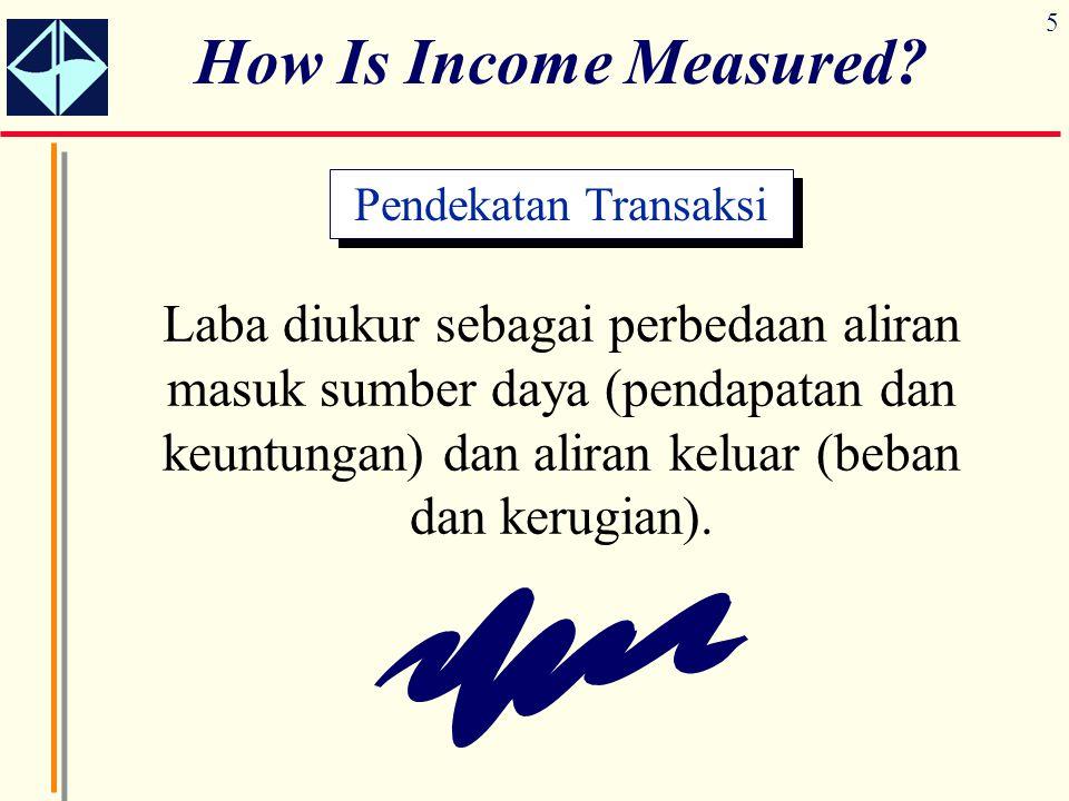 5 How Is Income Measured? Laba diukur sebagai perbedaan aliran masuk sumber daya (pendapatan dan keuntungan) dan aliran keluar (beban dan kerugian). P