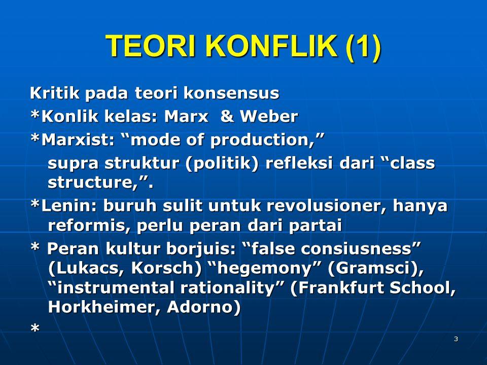TEORI KONFLIK (1) Kritik pada teori konsensus *Konlik kelas: Marx & Weber *Marxist: mode of production, supra struktur (politik) refleksi dari class structure, .