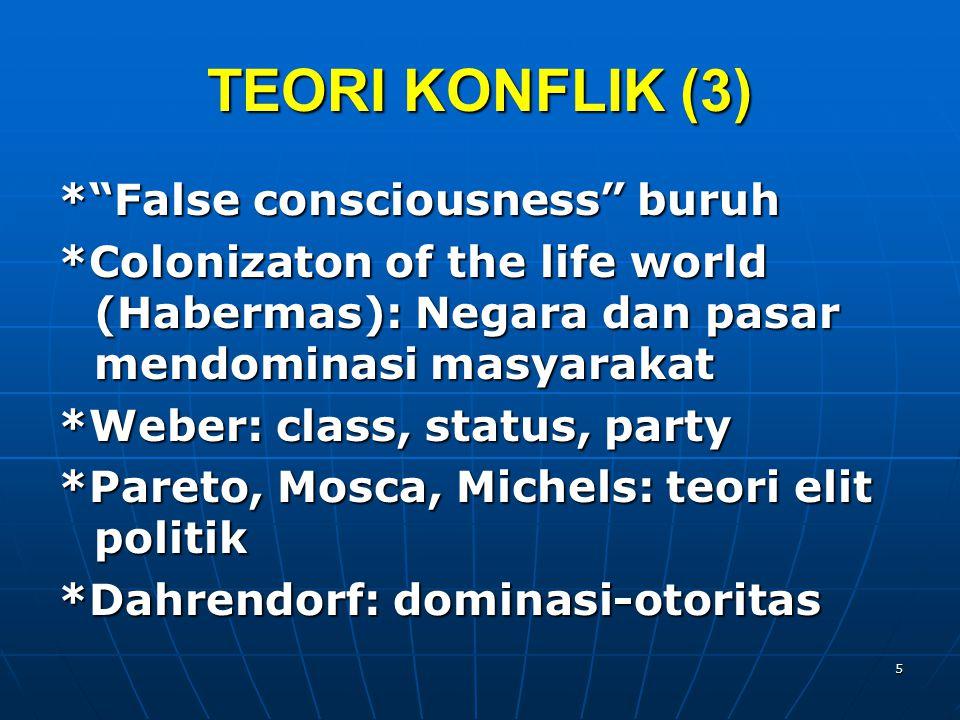 TEORI KONFLIK (4) *Mann: Ideologi, Ekonomi, politik, Militer * Bourdieu: social, cultural, symbolic capital, economic & political capital 6