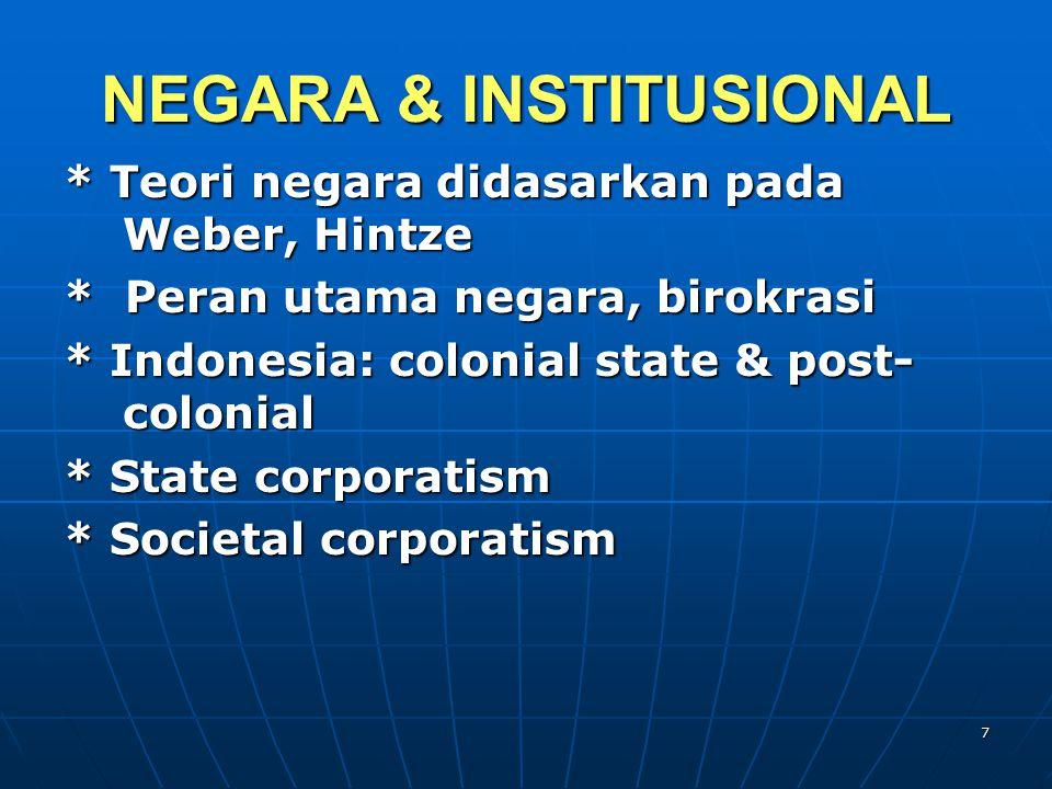 NEGARA & INSTITUSIONAL * Teori negara didasarkan pada Weber, Hintze * Peran utama negara, birokrasi * Indonesia: colonial state & post- colonial * State corporatism * Societal corporatism 7