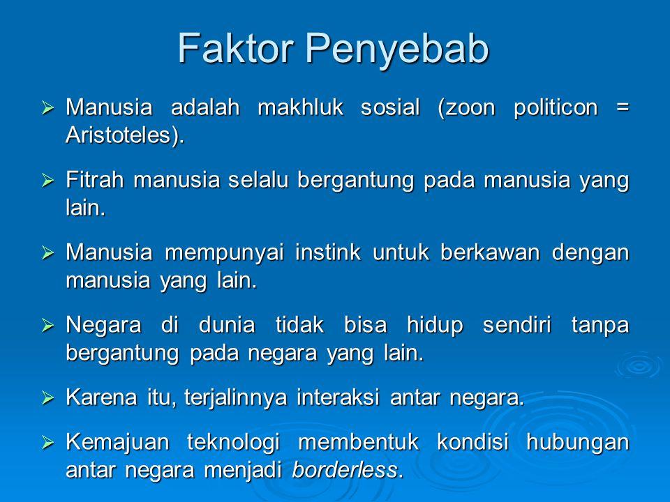 Faktor Penyebab  Manusia adalah makhluk sosial (zoon politicon = Aristoteles).