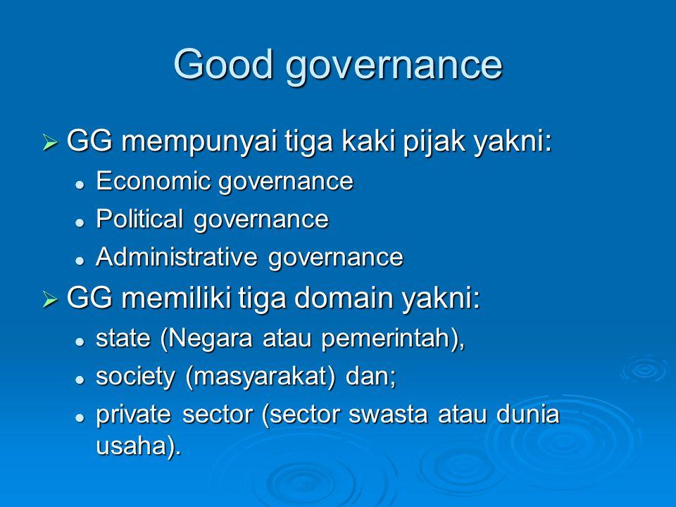 Good governance  GG mempunyai tiga kaki pijak yakni: Economic governance Economic governance Political governance Political governance Administrative governance Administrative governance  GG memiliki tiga domain yakni: state (Negara atau pemerintah), state (Negara atau pemerintah), society (masyarakat) dan; society (masyarakat) dan; private sector (sector swasta atau dunia usaha).