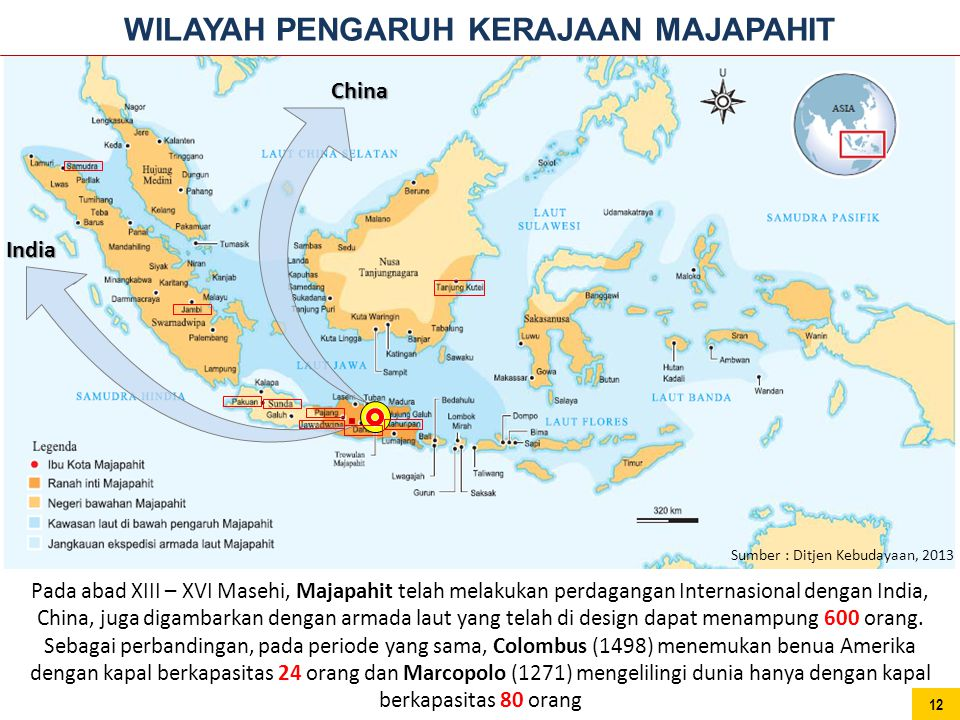 Pada abad XIII – XVI Masehi, Majapahit telah melakukan perdagangan Internasional dengan India, China, juga digambarkan dengan armada laut yang telah d