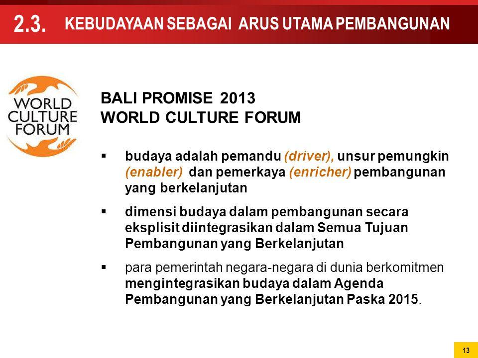  budaya adalah pemandu (driver), unsur pemungkin (enabler) dan pemerkaya (enricher) pembangunan yang berkelanjutan  dimensi budaya dalam pembangunan