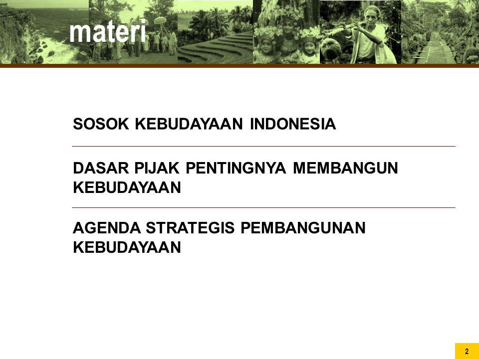 SOSOK KEBUDAYAAN INDONESIA materi DASAR PIJAK PENTINGNYA MEMBANGUN KEBUDAYAAN AGENDA STRATEGIS PEMBANGUNAN KEBUDAYAAN 2