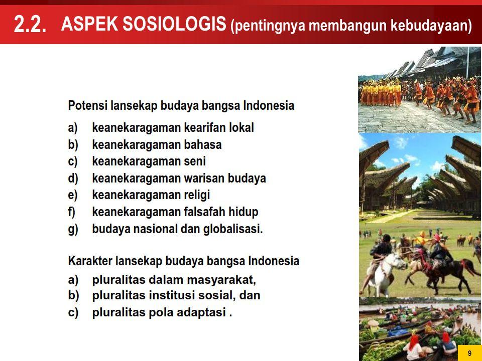 9 ASPEK SOSIOLOGIS (pentingnya membangun kebudayaan) 2.2. 9