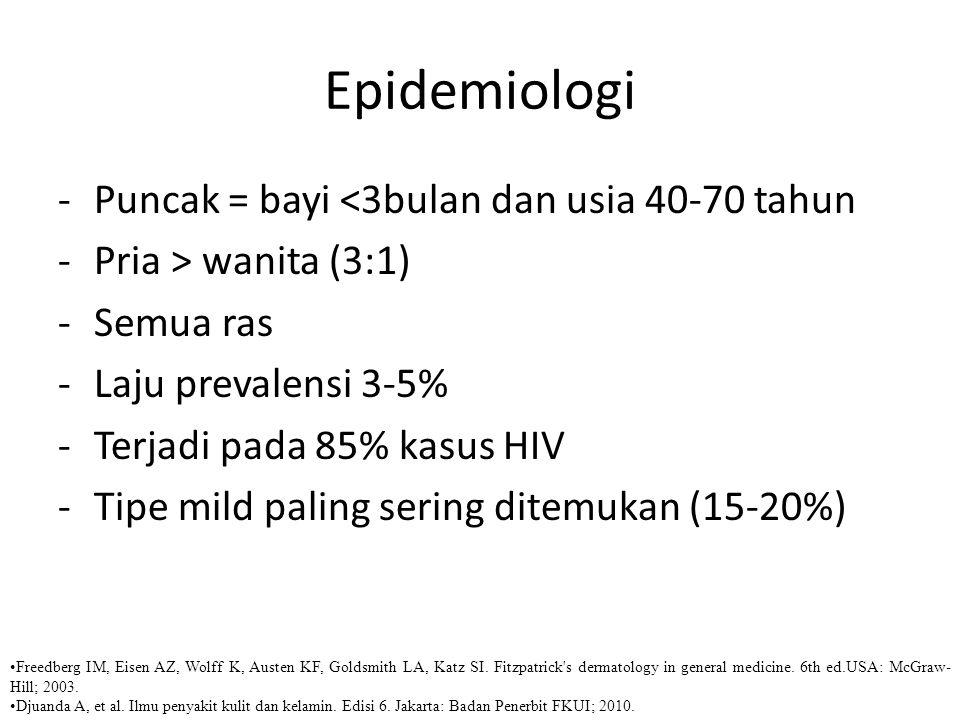 Anamnesis negatif bermakna Riwayat atopi, asma, rhinitis alergi disangkal  Dermatitis atopi less likely
