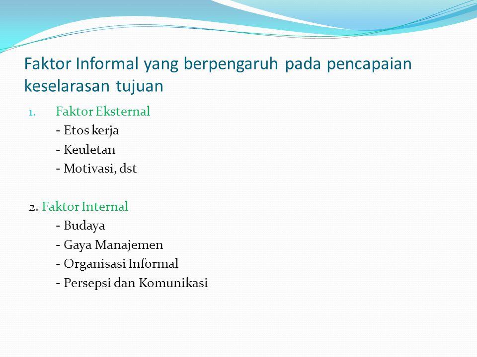 Faktor Informal yang berpengaruh pada pencapaian keselarasan tujuan 1. Faktor Eksternal - Etos kerja - Keuletan - Motivasi, dst 2. Faktor Internal - B