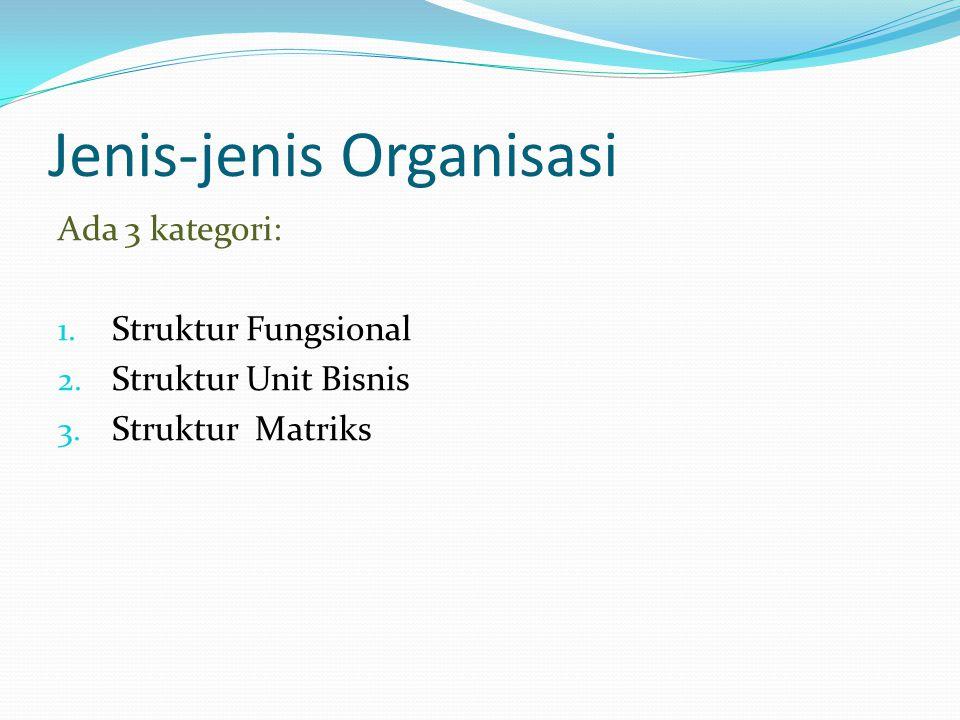 Jenis-jenis Organisasi Ada 3 kategori: 1. Struktur Fungsional 2. Struktur Unit Bisnis 3. Struktur Matriks