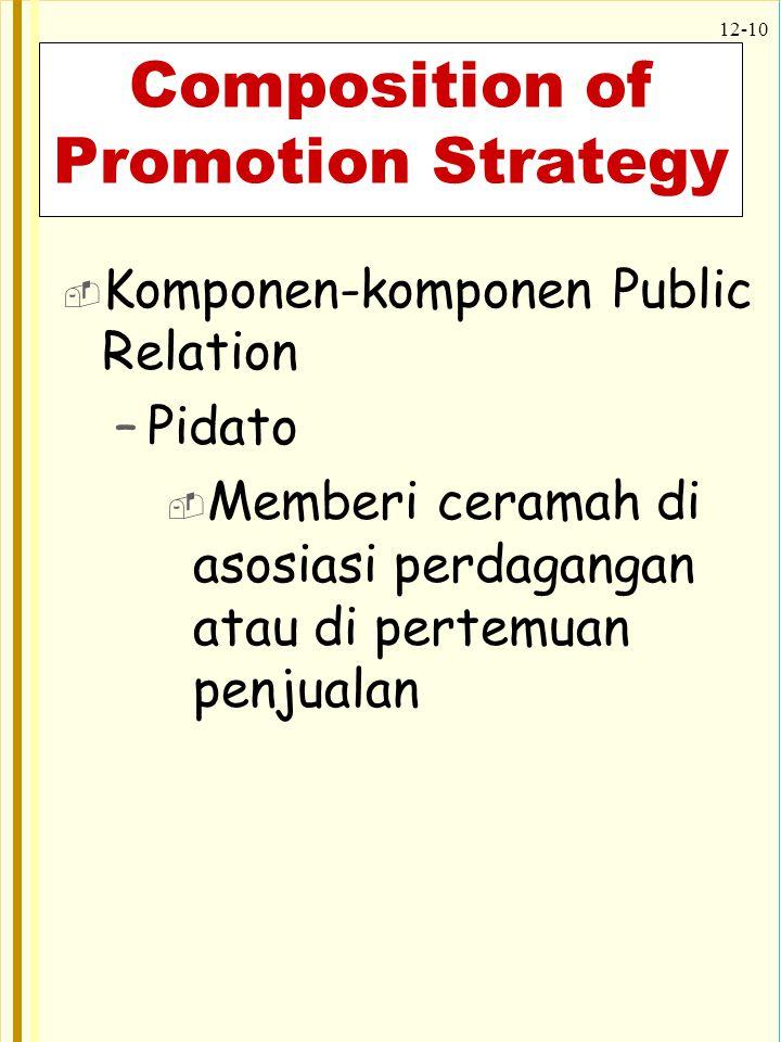 12-10 Composition of Promotion Strategy  Komponen-komponen Public Relation –Pidato  Memberi ceramah di asosiasi perdagangan atau di pertemuan penjua