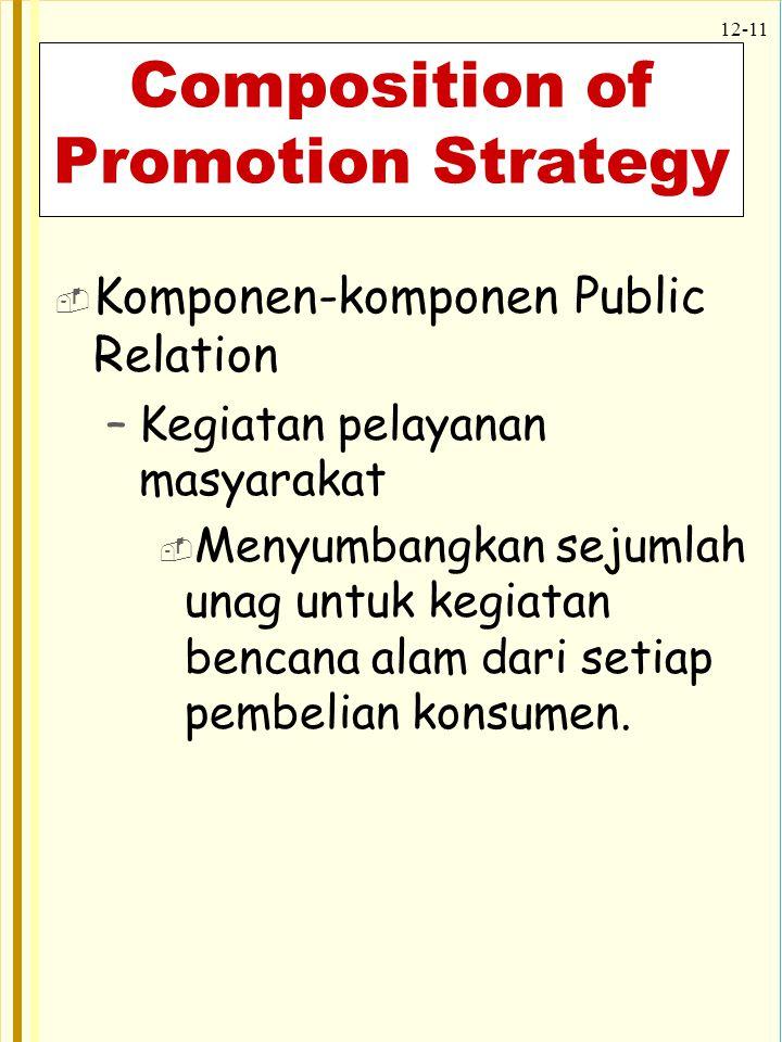 12-11 Composition of Promotion Strategy  Komponen-komponen Public Relation –Kegiatan pelayanan masyarakat  Menyumbangkan sejumlah unag untuk kegiata