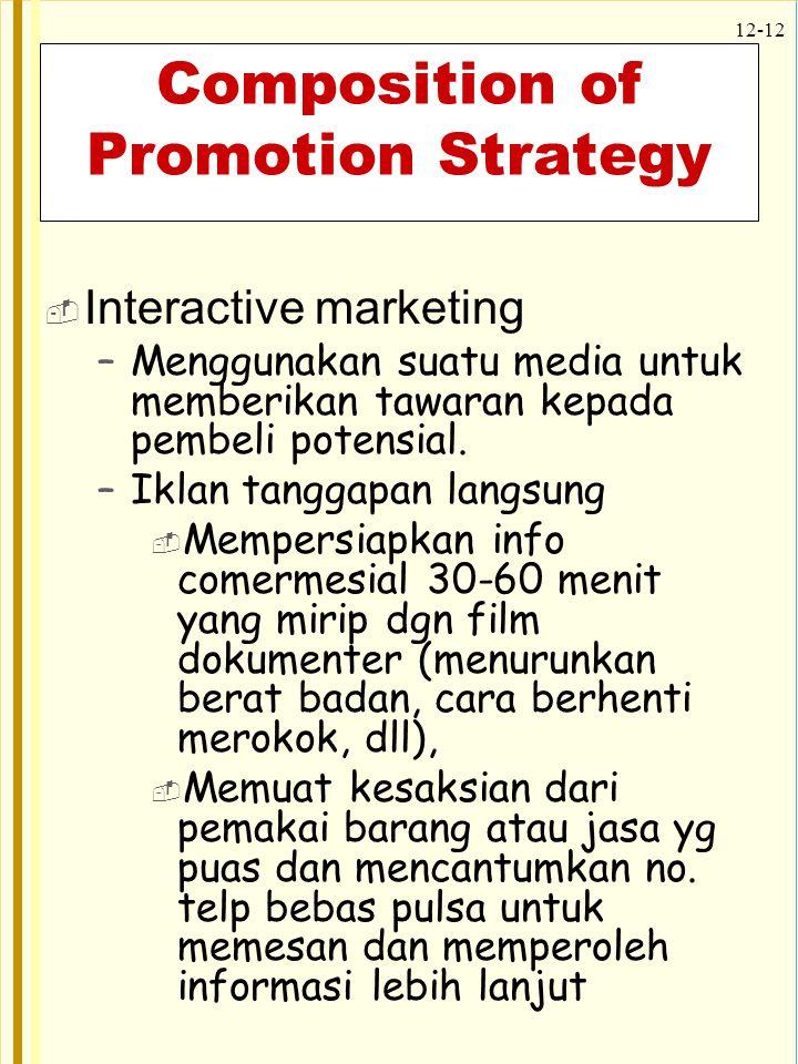 12-12 Composition of Promotion Strategy  Interactive marketing –Menggunakan suatu media untuk memberikan tawaran kepada pembeli potensial. –Iklan tan