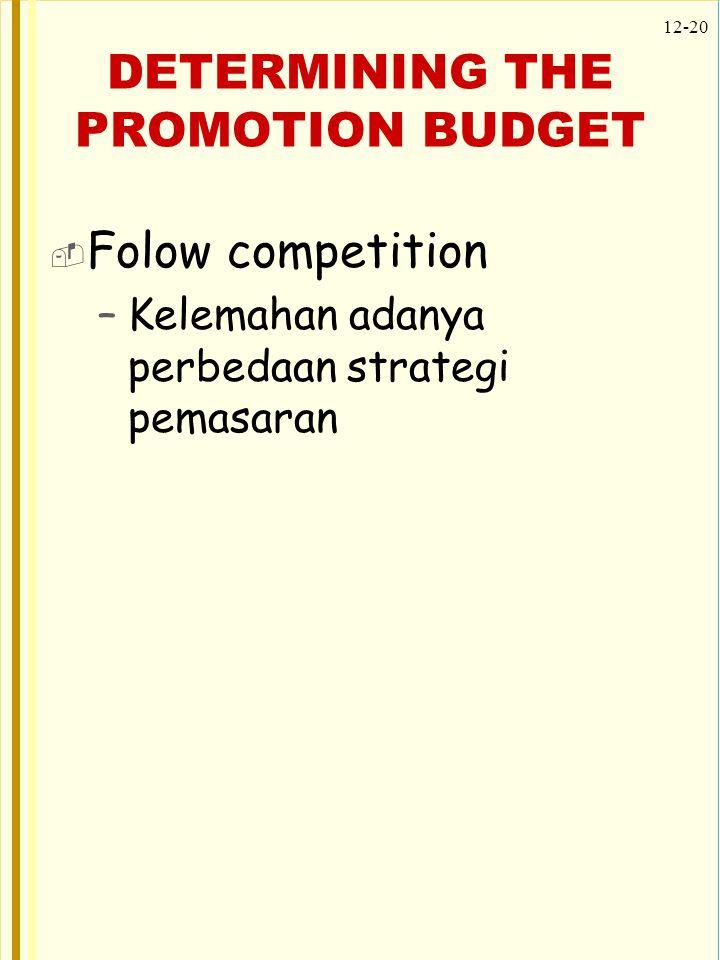 12-20 DETERMINING THE PROMOTION BUDGET  Folow competition –Kelemahan adanya perbedaan strategi pemasaran