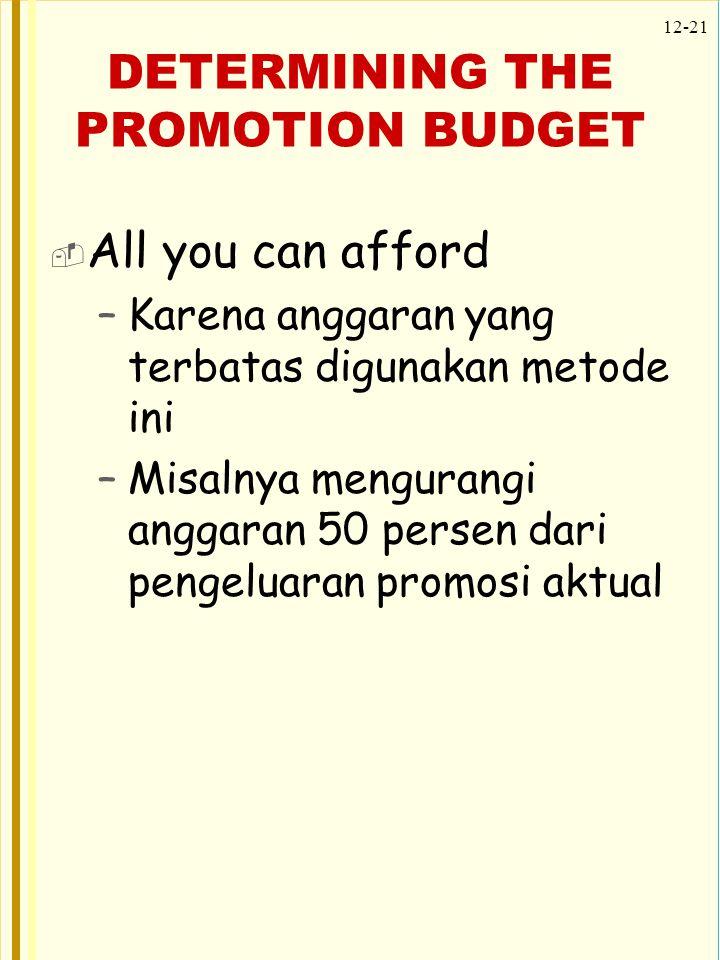 12-21 DETERMINING THE PROMOTION BUDGET  All you can afford –Karena anggaran yang terbatas digunakan metode ini –Misalnya mengurangi anggaran 50 perse