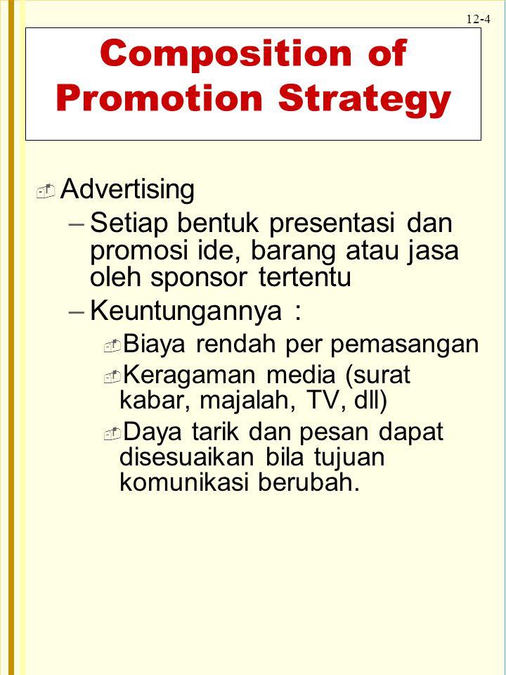 12-4 Composition of Promotion Strategy  Advertising –Setiap bentuk presentasi dan promosi ide, barang atau jasa oleh sponsor tertentu –Keuntungannya