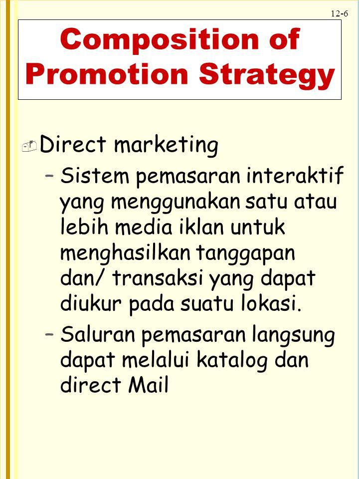 12-7 Composition of Promotion Strategy  Sales promotion –Terdiri dari kumpulan kiat insentif yang beragam, umumnya berjangka pendek.