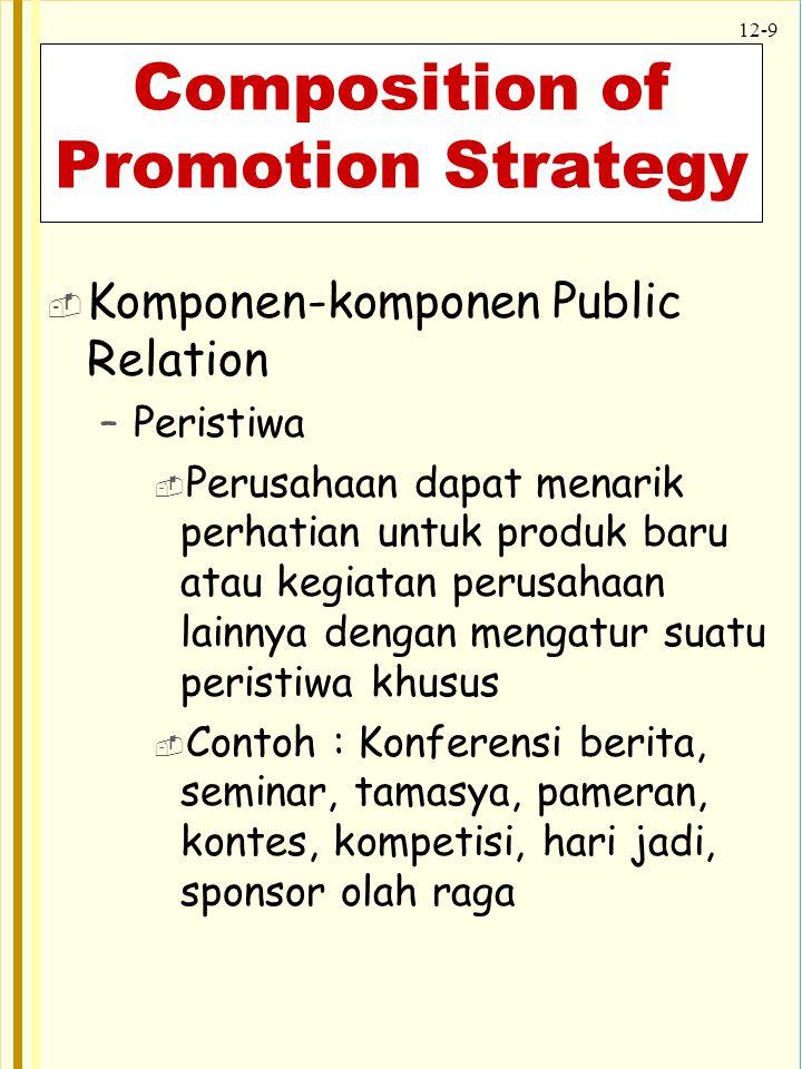 12-9 Composition of Promotion Strategy  Komponen-komponen Public Relation –Peristiwa  Perusahaan dapat menarik perhatian untuk produk baru atau kegi