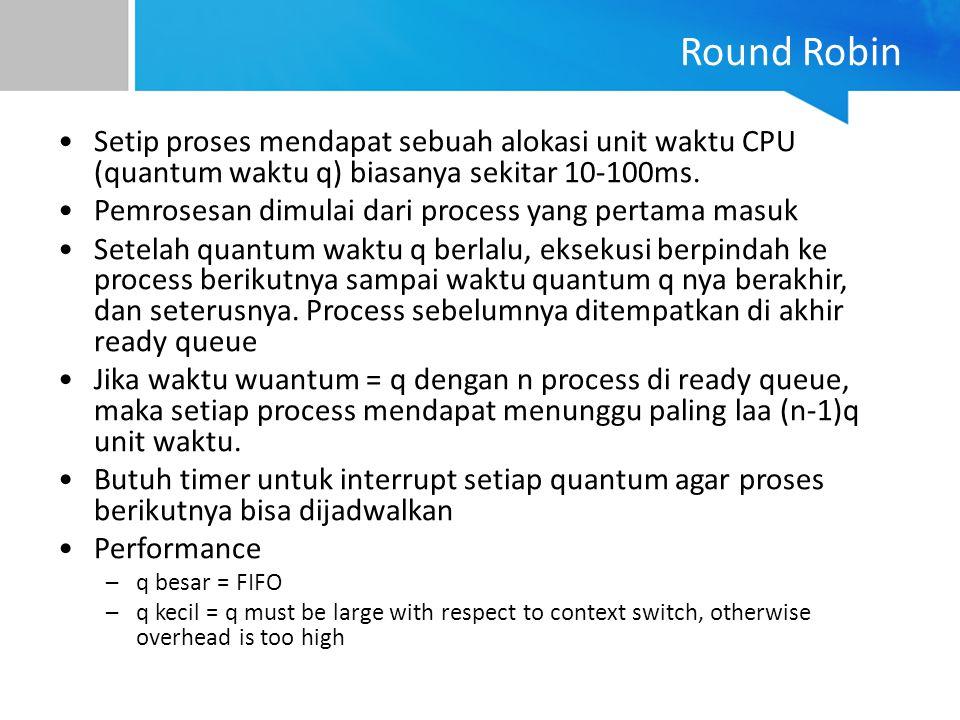 Round Robin Setip proses mendapat sebuah alokasi unit waktu CPU (quantum waktu q) biasanya sekitar 10-100ms. Pemrosesan dimulai dari process yang pert