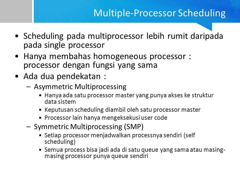 Multiple-Processor Scheduling Scheduling pada multiprocessor lebih rumit daripada pada single processor Hanya membahas homogeneous processor : process