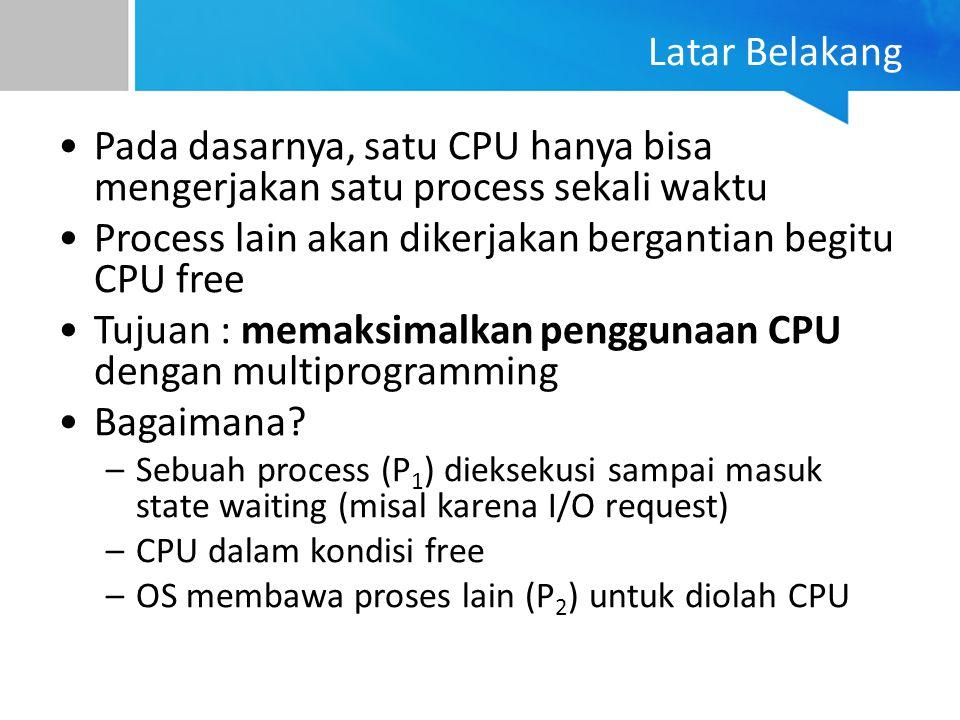 Latar Belakang Pada dasarnya, satu CPU hanya bisa mengerjakan satu process sekali waktu Process lain akan dikerjakan bergantian begitu CPU free Tujuan