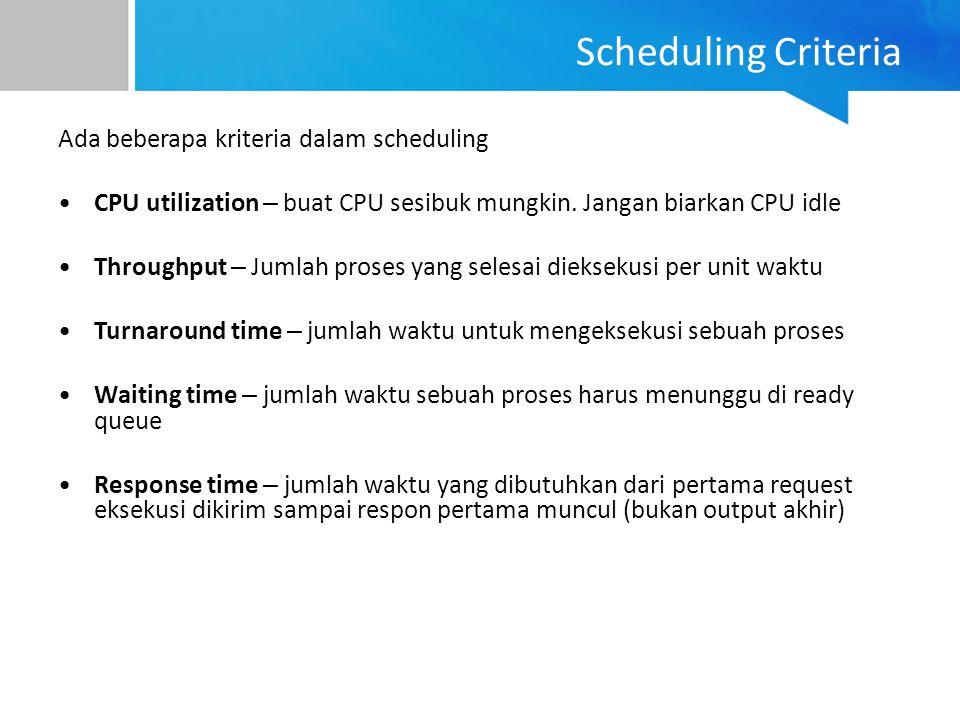 Ada beberapa kriteria dalam scheduling CPU utilization – buat CPU sesibuk mungkin. Jangan biarkan CPU idle Throughput – Jumlah proses yang selesai die