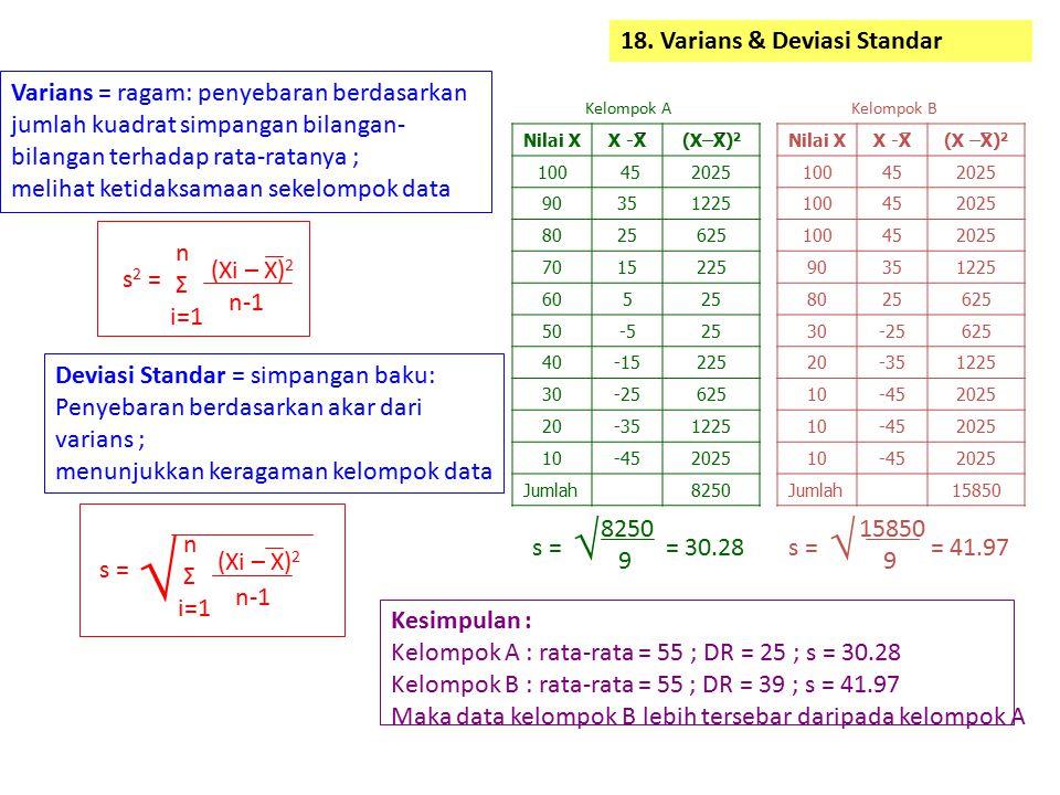18. Varians & Deviasi Standar Varians = ragam: penyebaran berdasarkan jumlah kuadrat simpangan bilangan- bilangan terhadap rata-ratanya ; melihat keti