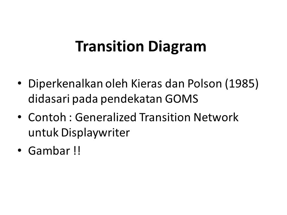 Gambar Transition Diagram ILEGAL ACTION EDIT (KEY-WAIT) POP END SAVE DOC CANCEL (CURSOR-CONTROL) (DELETE) (FIND) (MOVE) (BACKSPACE) (ENTRY) OTHER ILLEGAL ACTION INPUT IS NULL MOVE TO OLD PATTERN NON-NULL INPUT PATTERN <- INPUT MOVE TO PATTERN INPUT = CANCEL FIND KEY FIND WHAT? ADD CHAR BKSP KEY REMOVE CHAR CC KEY MOVE CURSOR CONTROL POP BACKSPACEPOP ENTRYPOP FIND(INPUT)POP