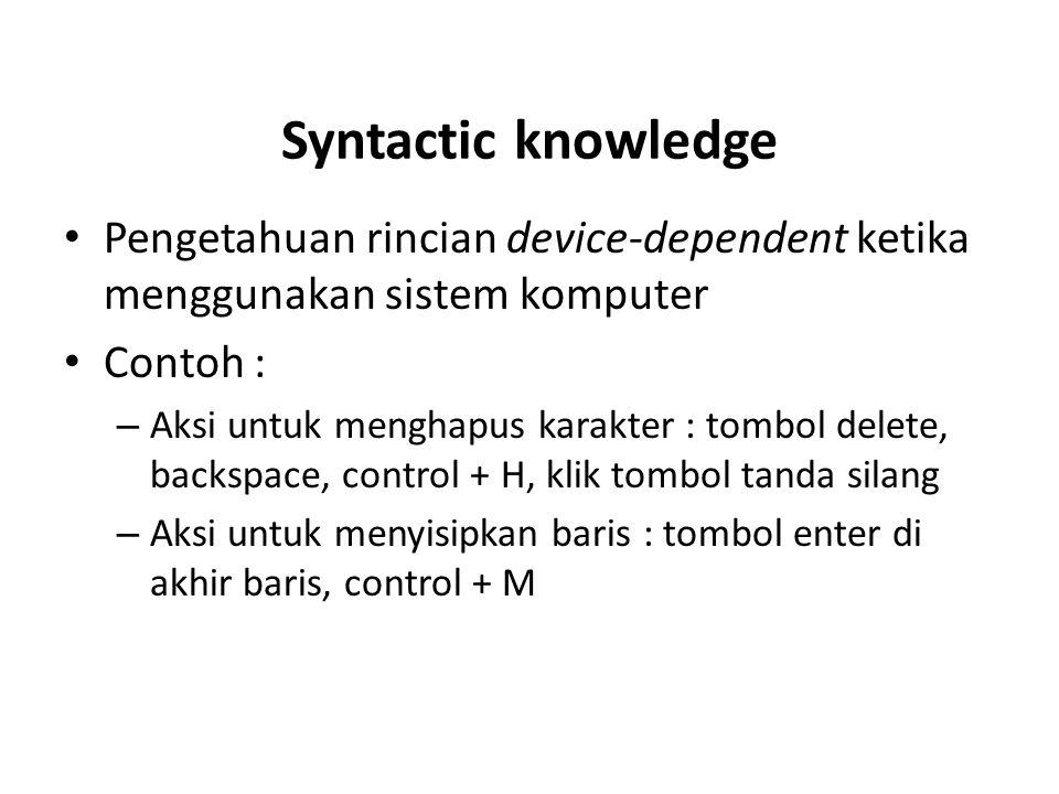 Syntactic knowledge Pengetahuan rincian device-dependent ketika menggunakan sistem komputer Contoh : – Aksi untuk menghapus karakter : tombol delete,