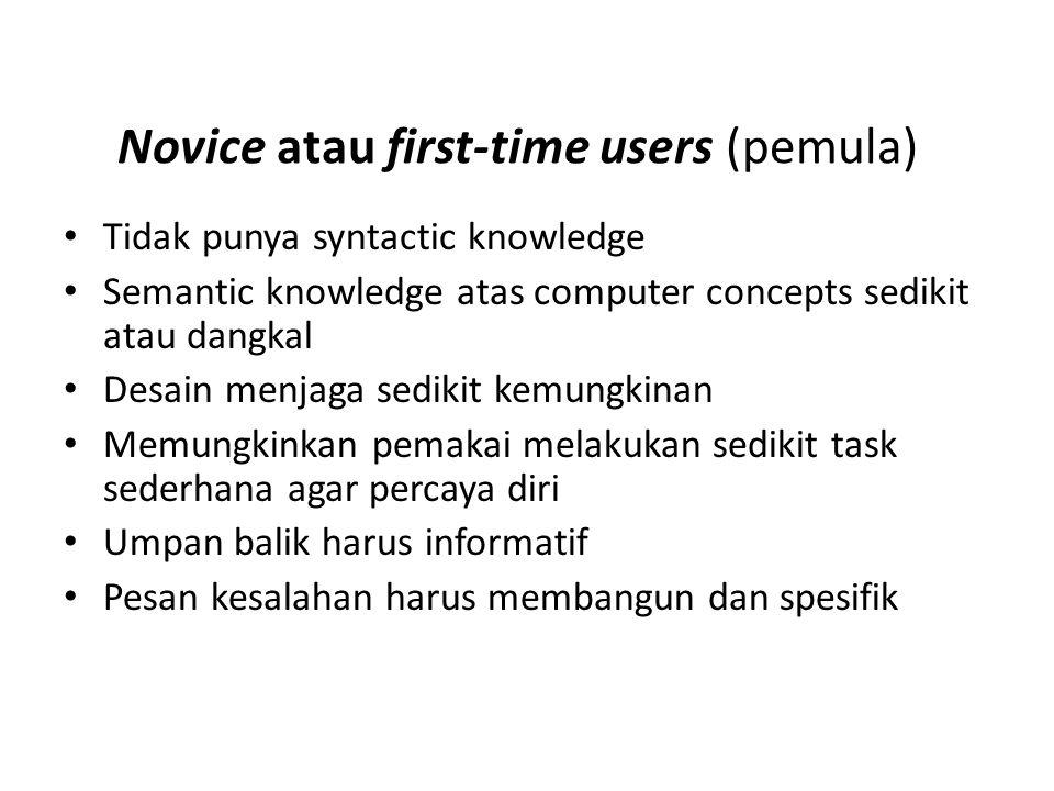 Novice atau first-time users (pemula) Tidak punya syntactic knowledge Semantic knowledge atas computer concepts sedikit atau dangkal Desain menjaga se