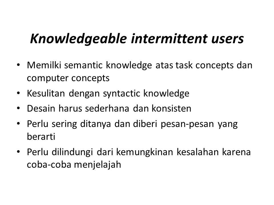 Knowledgeable intermittent users Memilki semantic knowledge atas task concepts dan computer concepts Kesulitan dengan syntactic knowledge Desain harus