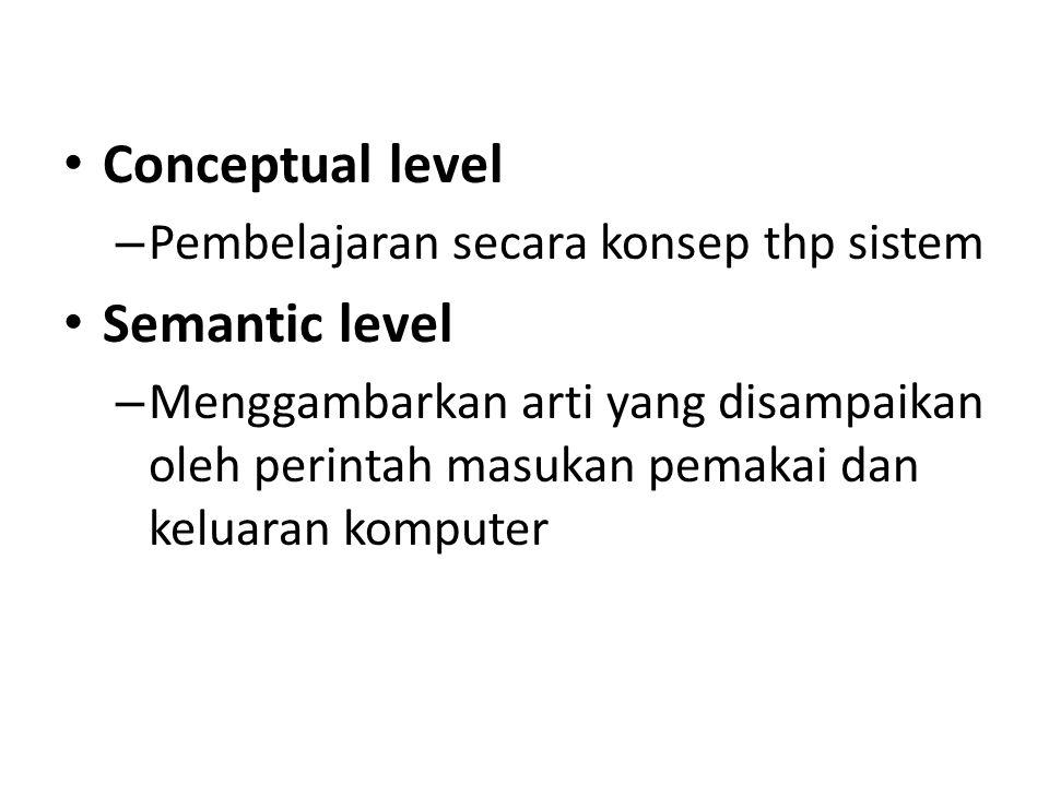 Conceptual level – Pembelajaran secara konsep thp sistem Semantic level – Menggambarkan arti yang disampaikan oleh perintah masukan pemakai dan keluar