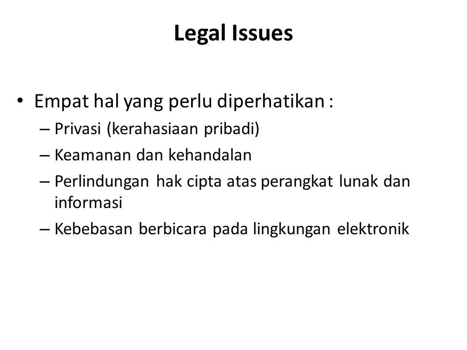 Legal Issues Empat hal yang perlu diperhatikan : – Privasi (kerahasiaan pribadi) – Keamanan dan kehandalan – Perlindungan hak cipta atas perangkat lun