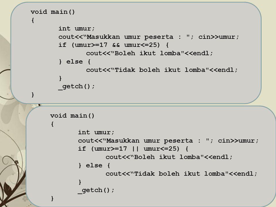 "Free Powerpoint TemplatesPage 6 void main() { int umur; cout >umur; if (umur>=17 && umur<=25) { cout<<""Boleh ikut lomba"