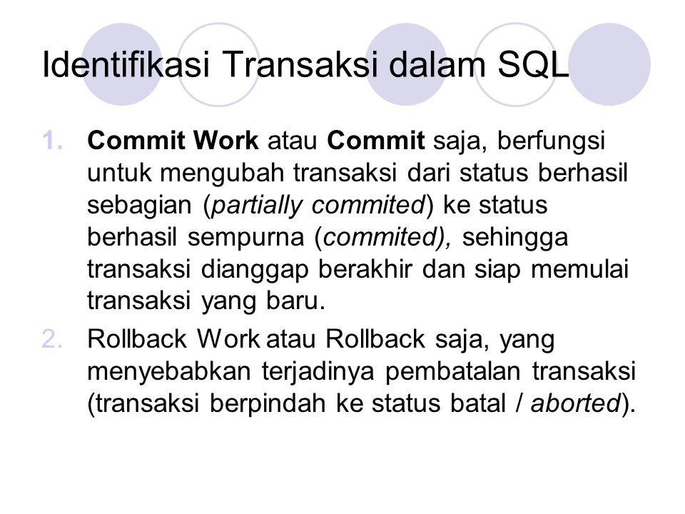 Identifikasi Transaksi dalam SQL 1.Commit Work atau Commit saja, berfungsi untuk mengubah transaksi dari status berhasil sebagian (partially commited)